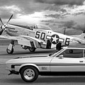 Mach 1 Mustang With P51 In Black And White by Gill Billington