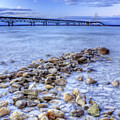 Mackinac Bridge From The Beach by Twenty Two North Photography