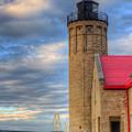 Mackinac Lighthoue And Bridge by Twenty Two North Photography