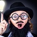 Mad Professor With Light Bulb Breakthrough by Jorgo Photography - Wall Art Gallery