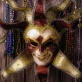 Madi Gras Mask And Beads by Garry Gay