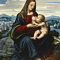Madonna And Child Before A Landscape by Marco d'Oggiono
