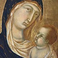 Madonna And Child Fragment  by Duccio