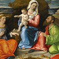 Madonna And Child With A Goldfinch With Saints Catherine And Paul Before An Extensive Landscape by Pietro degli Ingannati