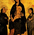 Madonna In Gloria Between Saint Francis And Santa Chiara Gentile by Fabriano Gentile da