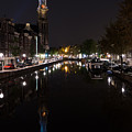 Magical Amsterdam Night - Blue Crown Skyline by Georgia Mizuleva