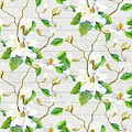 Magnolia Farmhouse Watercolor Chinoiserie Watercolor Home Decor Pattern by Audrey Jeanne Roberts