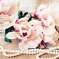 Magnolia Flowers With Pearls by Anastasy Yarmolovich