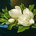 Magnolias On A Blue Velvet Cloth by Martin Johnson Heade
