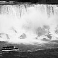Maid Of The Mist Boat Below The American And Bridal Veil Falls Niagara Falls Ontario Canada by Joe Fox