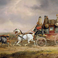 Mail Coaches On The Road - The Louth-london Royal Mail Progressing At Speed by Charles Cooper Henderson