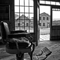 Main Street Barber Chair Black And White by Adam Jewell
