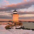 Maine Bug Light Lighthouse Snow At Sunset by Ranjay Mitra