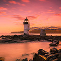 Maine Lighthouse Marshall Point At Sunset by Ranjay Mitra