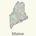 Maine Line Art Map by David Zydd
