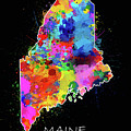 Maine Map Color Splatter 2 by Bekim M