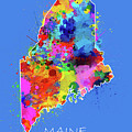 Maine Map Color Splatter 3 by Bekim Art