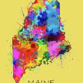 Maine Map Color Splatter 4 by Bekim Art