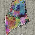 Maine Map Color Splatter 5 by Bekim Art