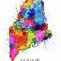 Maine Map Color Splatter by Bekim M