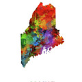 Maine Map Watercolor by Bekim M