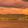 Maine Winter Storm At Sunset Over Highland Lake Panorama by Ranjay Mitra