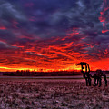 Majestic Red Clouds Winter Sunset The Iron Horse Art by Reid Callaway