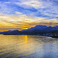 Makrygialos Sunset Digital Painting by Antony McAulay