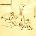 Male Nude Reclining On Cushion by Sheri Buchheit