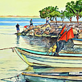 Malecon Fishermen by Faythe Mills