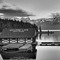 Maligne Lake Sunset Panorama Black And White by Adam Jewell