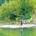 Man Fly Fishing In Canyon Creek Near Winters-california by Ruth Hager