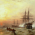 Man-o-war Firing A Salute At Sunset by Claude T Stanfield Moore