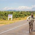 Man On Bicycle In Zambia by Marek Poplawski
