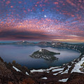 Man On Hilltop Viewing Crater Lake With Full Moon by William Freebilly photography