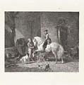 Man Te Paard In Een Stal by Willem Steelink