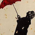 Man With Red Umbrella    by Santhosh Ch