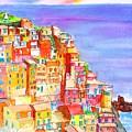 Manarola In The Cinque Terre Italy by Carlin Blahnik CarlinArtWatercolor