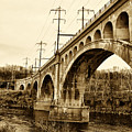 Manayunk Bridge Across The Schuylkill River In Sepia by Bill Cannon