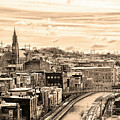 Manayunk In March - Canal View In Sepia by Bill Cannon