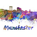 Manchester Nh Skyline In Watercolor by Pablo Romero