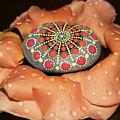 Mandala Stone In Rose Petals by 3 Hearts