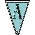 Pennant Deco Blues Banner Initial Letter A by Cecely Bloom