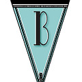Pennant Deco Blues Banner Initial Letter B by Cecely Bloom