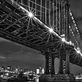 Manhattan Bridge Frames The Brooklyn Bridge by Susan Candelario