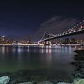 Manhattan Bridge Twinkles At Night by Alissa Beth Photography