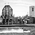 Manhattan Ny - Jet Skiing By Colgate Clock Black And White by Susan Savad
