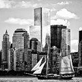 Manhattan Ny - Schooner Seen From Liberty State Park Black And White by Susan Savad