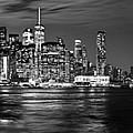 Manhattan Skyline At Dusk From Broklyn Bridge Park In Black And  by Carlos Alkmin