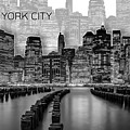 Manhattan Skyline - Graphic Art - White by Melanie Viola